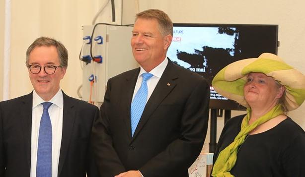 Andrew Noble, British Ambassador, Klaus Iohannis, President of Romania, Arabella McIntyre-Brown, Transylvanian author